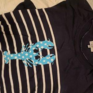 Navy crawfish striped sweater